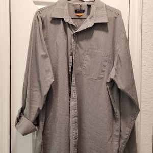 Mens black and white button down